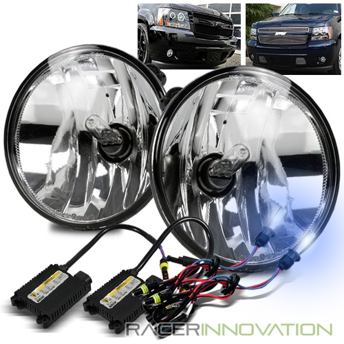 8000K Xenon HID//For 07-14 Avalanche//Suburban//Tahoe Clear Round Fog Lights Lamps