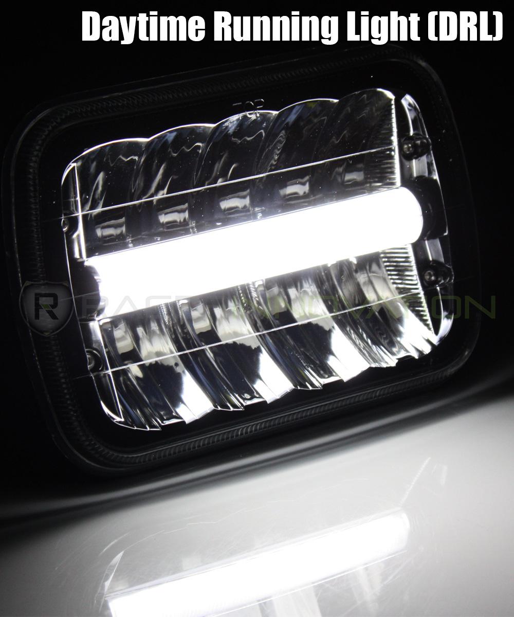 7x6 H6014//H6052//H6054 Chrome 55W LED DRL Bar Sealed Beam Glass Lens Headlights
